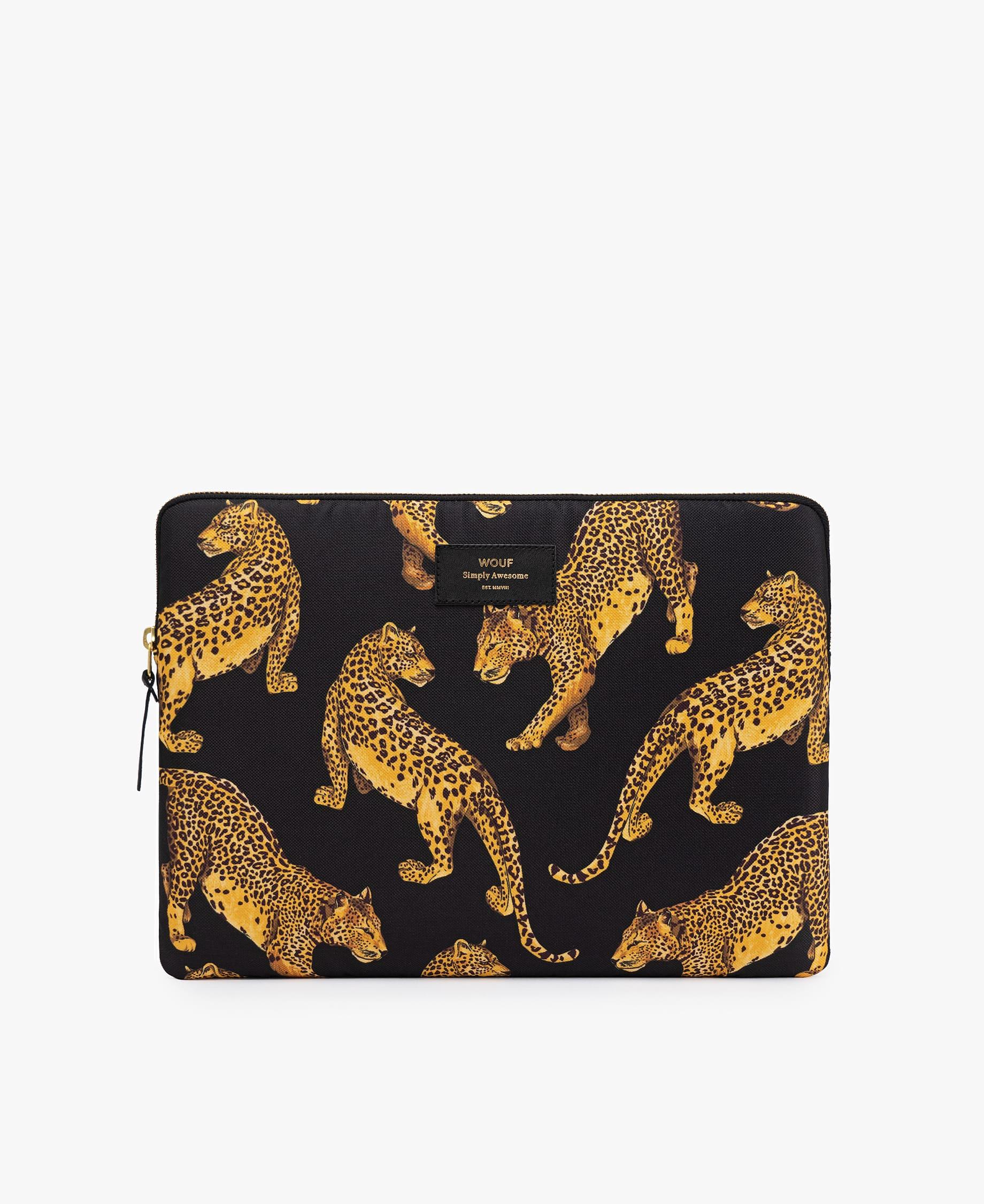 Wouf Black Leopard Laptop Case
