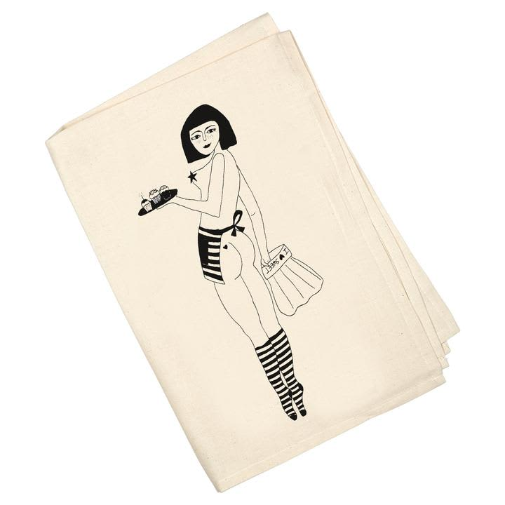 Helen B Pin Up Cake Girl Tea Towel