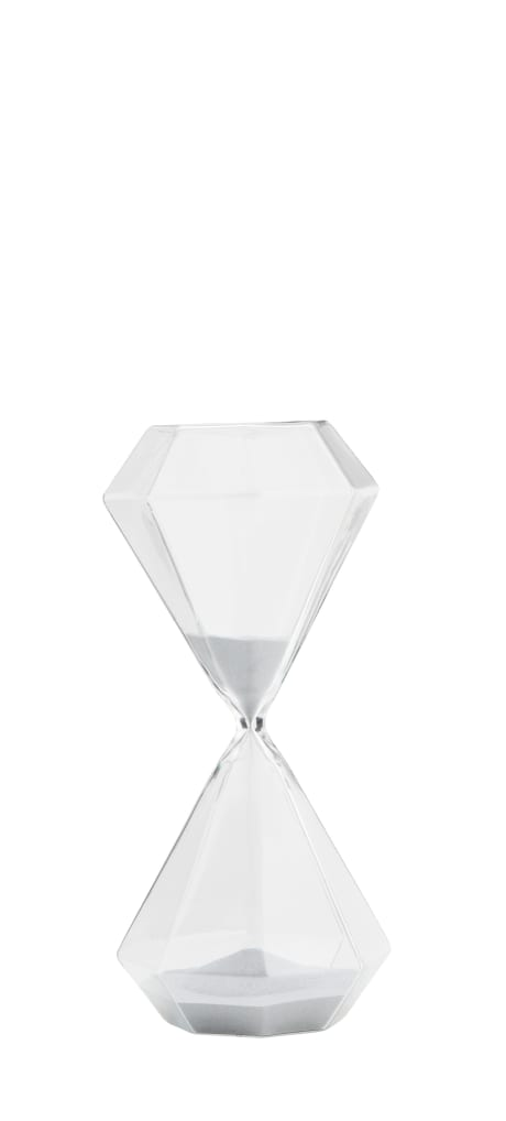 trouva hexagonal glass hourglass Black Sand Hourglass madam stoltz hexagonal glass hourglass