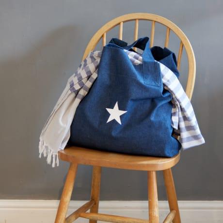 trouva design home interiors white star dark denim shopper bag