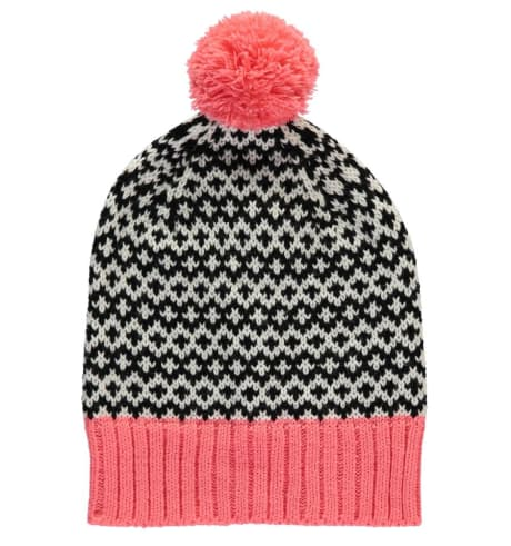 4f6d5baef85 Miss Pompom Coral and Black Graphic Pom Pom Beanie Hat