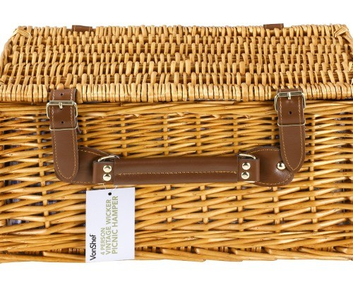 4-Person Wicker Picnic Basket
