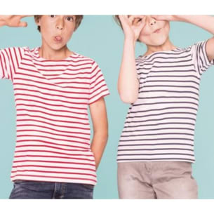 Short Sleeved Horizontal Striped Kids Tshirt - Navy blue or Red - 4Y to 14Y