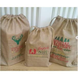 Customizable Christmas Bag - 3 sizes - Add your name - Burlap