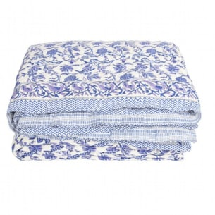 Blue quilted bedspread