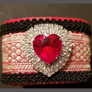 Stunning red golden heart wrist cuff - hand-made