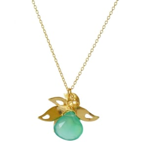 Lalita Tropical pendant with leaf goldplated and green stone