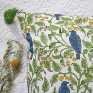 BIRD Cushion Cover - 100% Organic Cotton - Block-printing - 40 x 40 cm