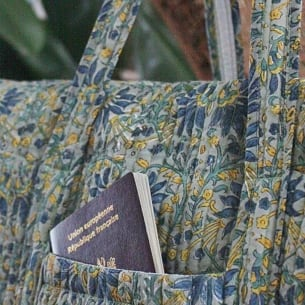 Weekend Bag - 100% Organic Cotton - Block-printing - 50 x 30 x 20 cm