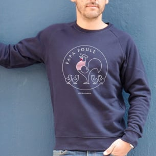 Sweat-shirt Papa Poule 4 Poussins - Bleu -Personnalisation