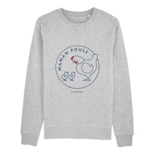 Maman Poule - 2 poussins - Sweatshirt - gris - Personalisation