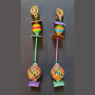Hand-made Boho Chic Color Chips Earrings. Upcycled. Pierced or Clips.