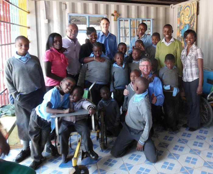 Associate Professor Roger Rassool (front) and Dr Bryn Sobott with students at the May Rice Centre for the Disabled in Kibera, the largest slum in the Kenyan capital Nairobi. Picture supplied