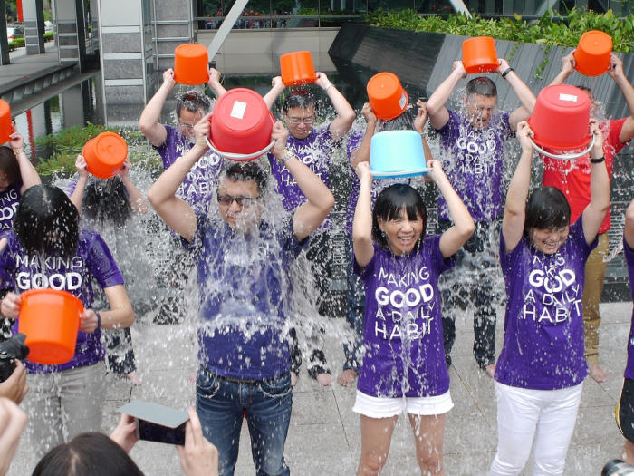 The ice bucket challenge in 2014 was a hugely successful fundraiser for MND (also known as ALS) research. Picture: Flickr/tenz1225