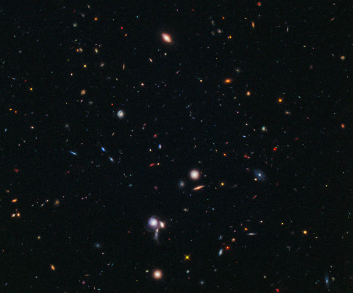 This small patch of the sky is one of the places where we pointed the Hubble Space Telescope to search for super-distant bright galaxies. Credit: NASA, ESA, M. Trenti, L. Bradley and the BoRG team.
