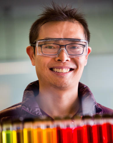 Dr Wallace Wong is working towards cheaper and more robust printable solar cells. Picture supplied.