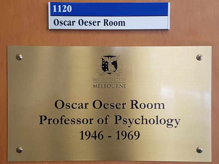 The nameplate outside the seminar room on the 11th floor of Raymond Barry Building, on the University of Melbourne's Parkville campus.