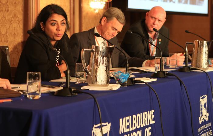 L-R: Mukulika Banerjee, The Hon John Brumby, Dr Mark McMillan