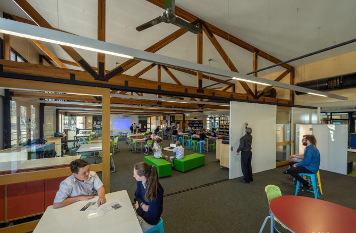 Marist College, Bendigo<strong>. Sliding doors, writable surfaces and adaptable furniture-</strong><strong>flexible spaces enable collaborative group learning. </strong>Architect: Y2 Architecture. Picture: Bill Conroy.