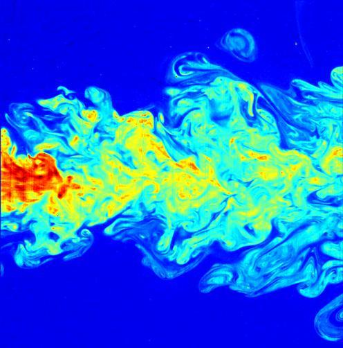 A visualization of turbulent air, made by laser-induced fluorescence. Picture: Wikipedia