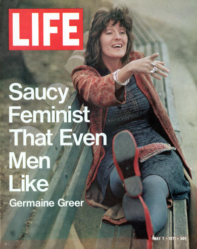 """Germaine Greer on the LIFE magazine cover on May 7, 1971. Inside, LIFE promoted the feature by saying that Greer wanted to """"liberate women from the 'slavery' of traditional marriage and motherhood"""". Picture: Vernon Merritt III/The LIFE Premium Collection/Getty Images"""
