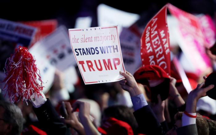 Donald Trump supporters in New York City show their support on election night. Picture: Spencer Platt/Getty Images