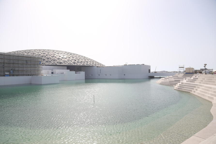 The Louvre Abu Dhabi is being constructed on man-made Saadiyat Island, and will be the first of the island's series of blockbuster cultural attractions to open. Picture: TDIC