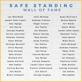YOUR NAME on the Safe Standing Supporters Wall of Fame at the stadium