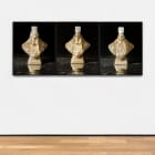 Sara Cwynar, Avon Presidential Bust (Washington, Gold, Lincoln, Gold), 2017, chromogenic print mounted on Dibond, in three panels, 30 x 24 in. (76.2 x 60.96 cm.,) each., edition of 3 with 2 AP