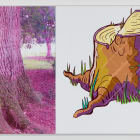 Julia Wachtel, Tree, 2016, oil and acrylic on canvas, 2 panels, overall: 36 x 93 in.