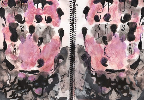 """Part of the artist's book, """"Timbres, Allusions & High Humming"""" Ink on Paper"""