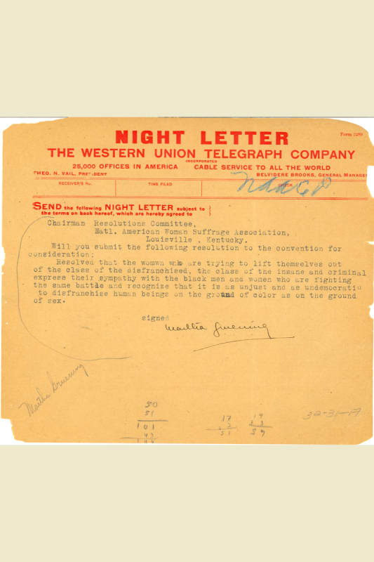 Image, August 1911 Night Letter (telegram) sent by Martha Gruening