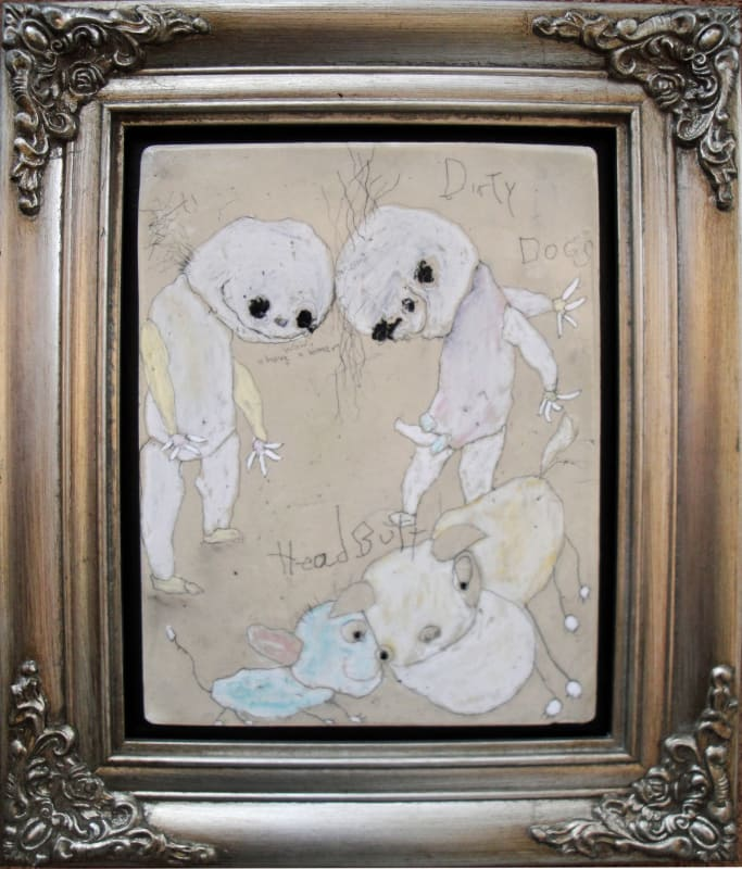 Dirty Dogs, by Richard Campiglio, mixed media 10x13in framed 2013