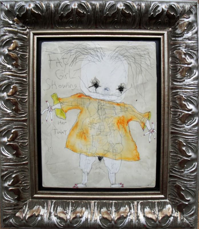 Fat Girl Showing Her Twat, by Richard Campiglio, mixed media 10x13 in framed 2013 (sold)