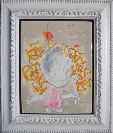 Girl with Gorgeous Curls( Blonde), by Richard Campiglio, mixed media 12x14 framed 2010 (sold)