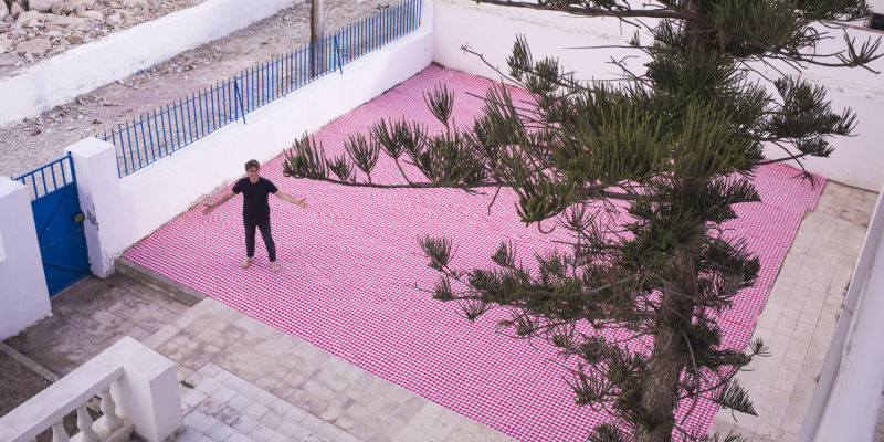 10 x 10 meter of gingham picnic tablecloth for Jaou Tunis 2017.