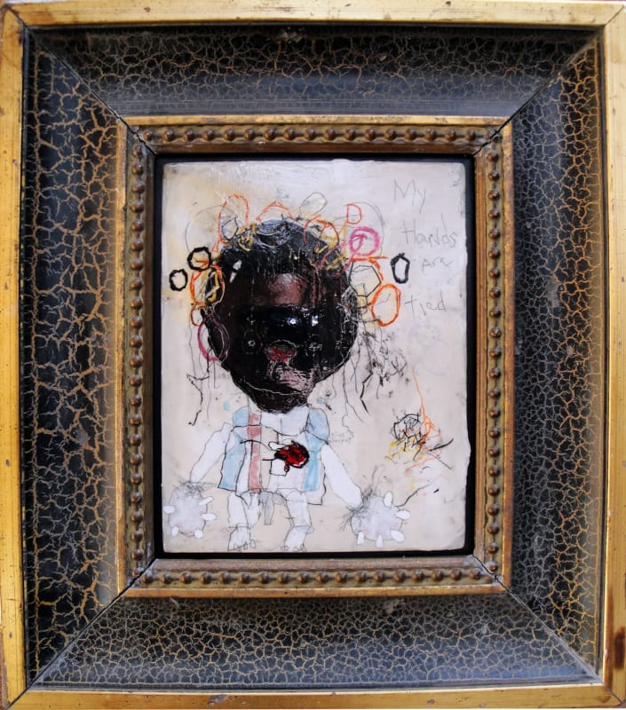 My Hands are Tied, by Richard Campiglio, mixed media 10x13 in framed 2013