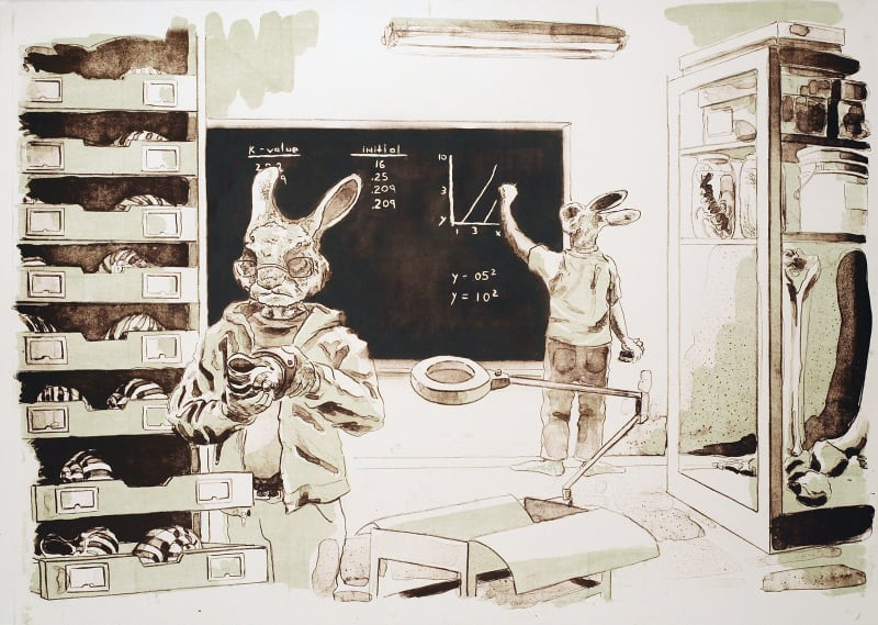 "Measuring Shells (for Gould), lithograph, 18"" x 25,"" 2010"