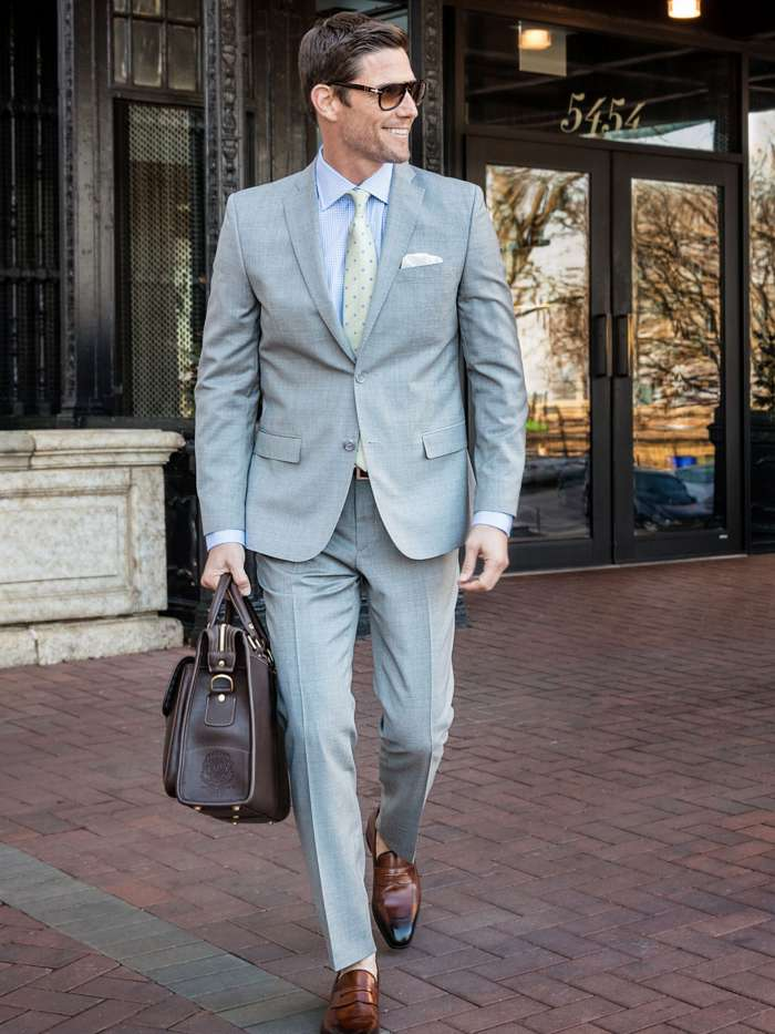 Spring business attire gray suit