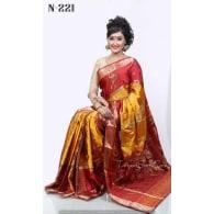 red yellow +Soft Silk-Katan-Saree-N-221
