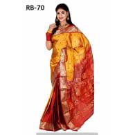 red yellow +Soft Silk-Katan-Saree-RB-70
