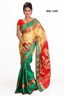 red golden +Soft Silk-Katan-Saree-No.155