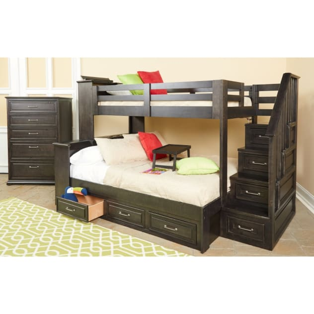 Dreamcatcher Twin Over Full Bunk Bed - Bunk Bed & Staircase - DREAMCATOFSTBB