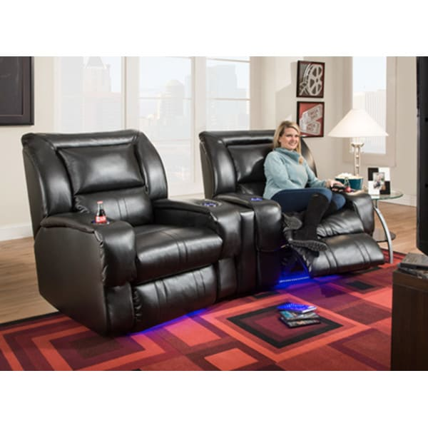 Icon Home Theater - 2 Power Recliners & Wedge - Black - 2148P