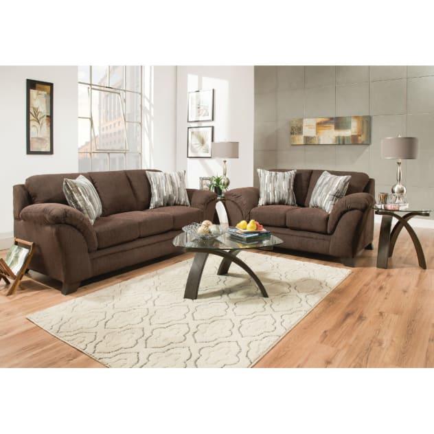 Jensen Living Room - Sofa & Loveseat - Chocolate (JENSEN2PCCHLR)