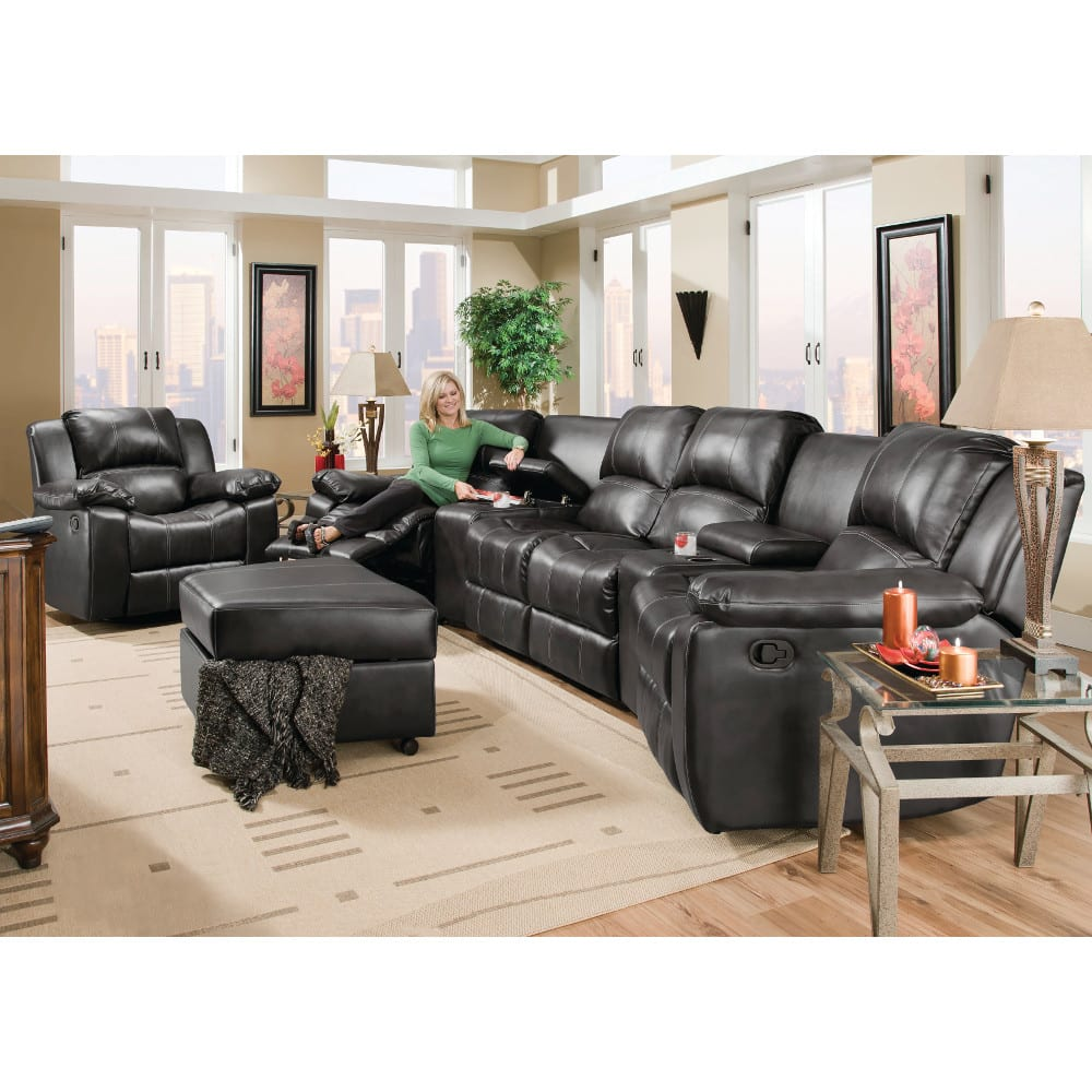 Flick Home Theater - 2 Recliners, 2 Consoles & Reclining Loveseat - Black (98204)