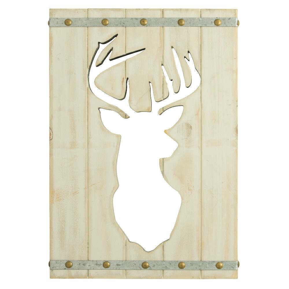 Deer on White Wood - Rustic Wall Art
