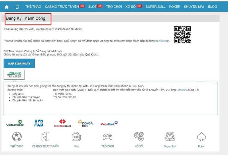 xác nhận đăng ký tài khoản w88 thành công