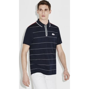 Striped Open Men's French Zip Shirt Navy Blue Sport Polo Lacoste Neck SUVpGqMz