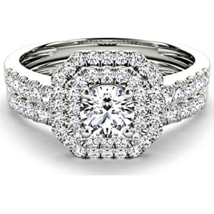 1 Ct Tw Diamond Double Halo Engagement Ring Set in 14k White Gold